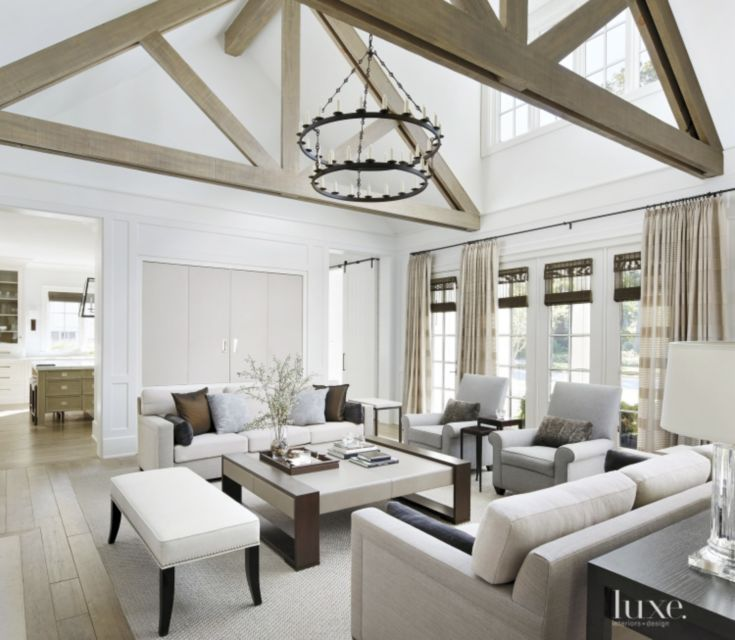 Transitional White Great Room With Custom Coffee Table Great