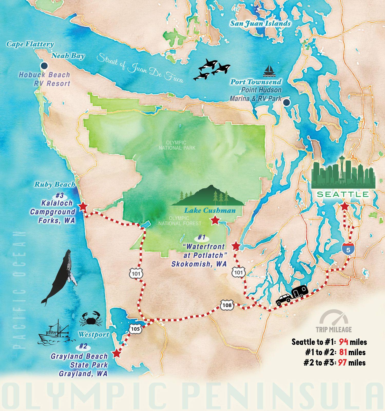 Airstream Road Trip Map // Olympic Peninsula via J5MM.com for ...