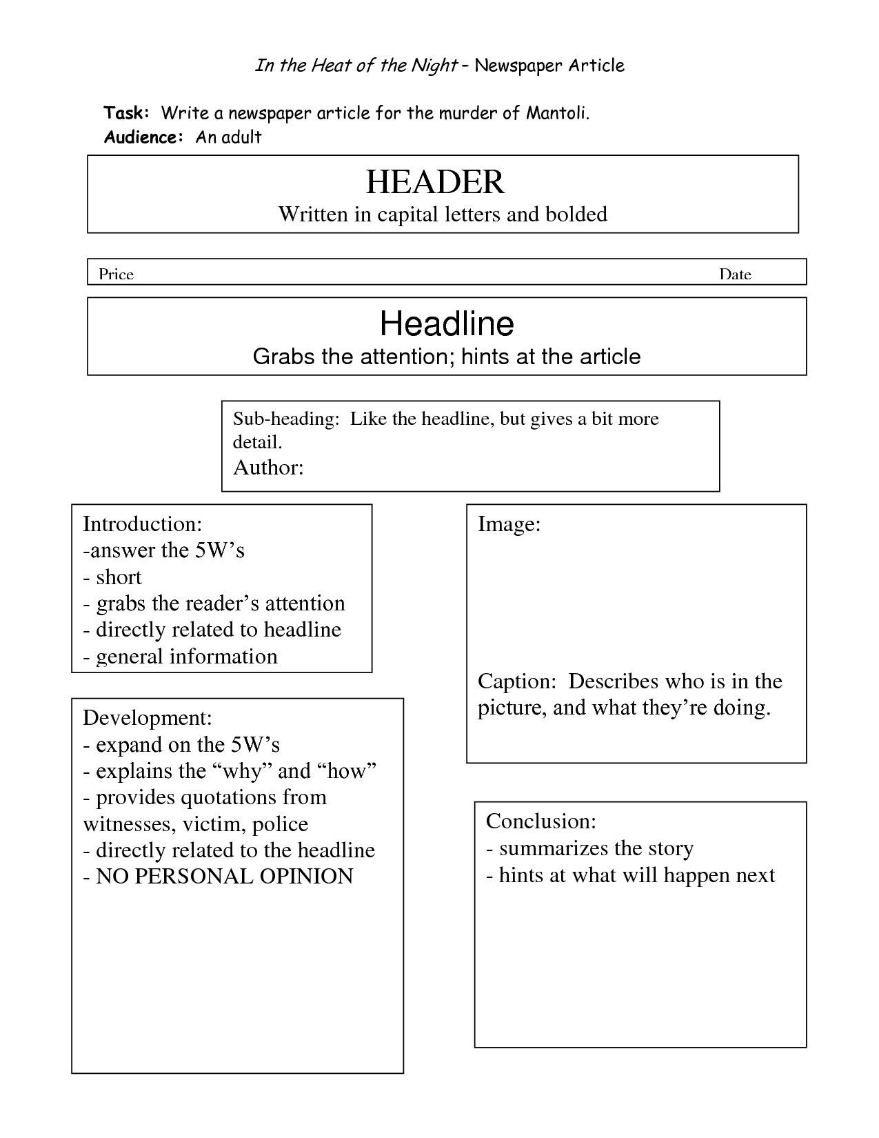 newspaper article format for students