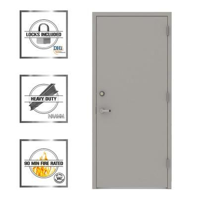 L I F Industries 36 In X 80 In Gray Flush Left Hand Security