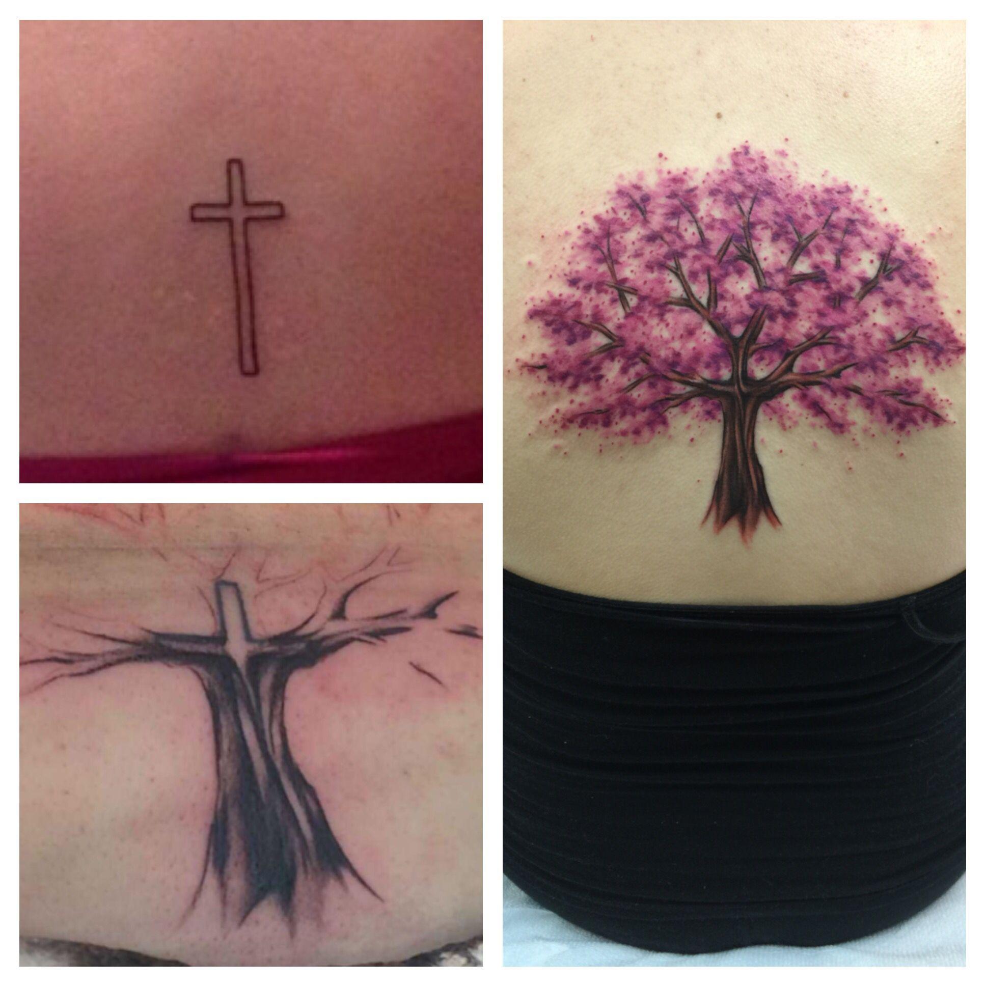 Cross Cover Up Tattoo Into Cherry Blossom Tree Cover Up Tattoo Cover Up Tattoos Up Tattoos