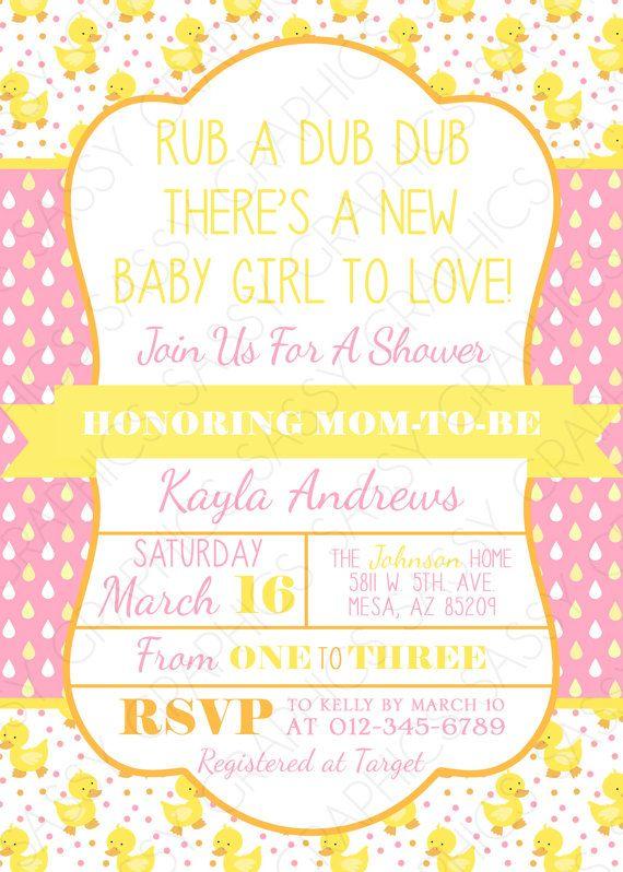 Duck baby shower invite baby shower invitation digital invite girls baby shower invitation rubber ducky theme polka by sassygfx 1300 filmwisefo