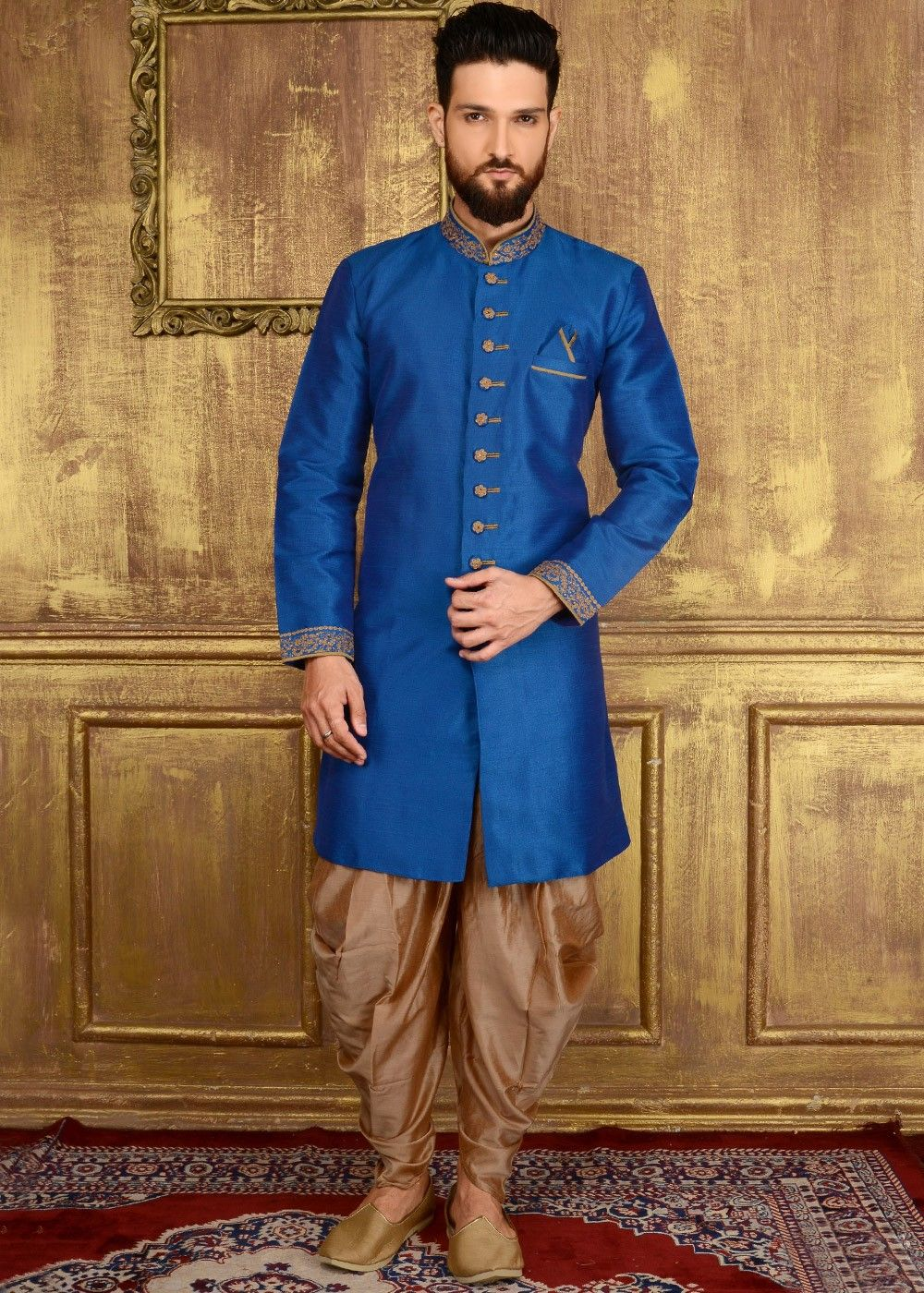 aa0bceea29 Buy Readymade Royal Blue Art Silk Indo Western Sherwani online, Work:  Embroidered, Color: Blue, Occassion: Reception,Wedding, Fabric: , Style: Indo  Western ...