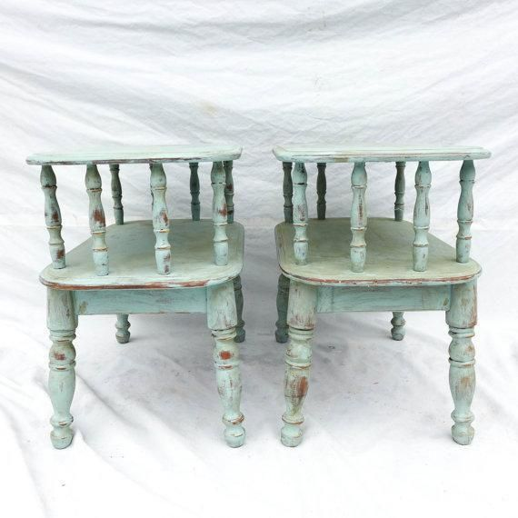 Duck Egg Green Cottage Style Side Tables A Pair