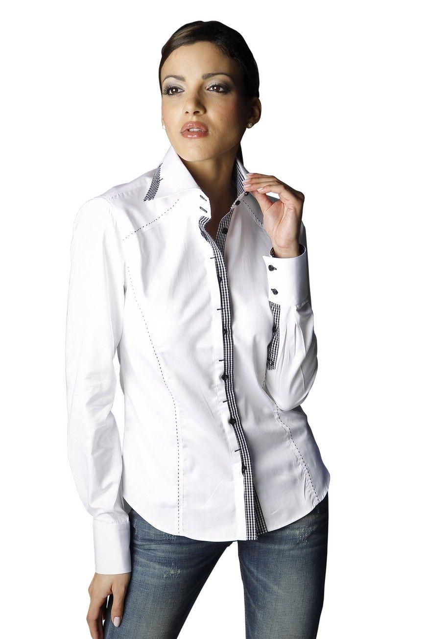 la chemise femme manches longues blanche tonne par son bel int rieur de col et sa patte de. Black Bedroom Furniture Sets. Home Design Ideas