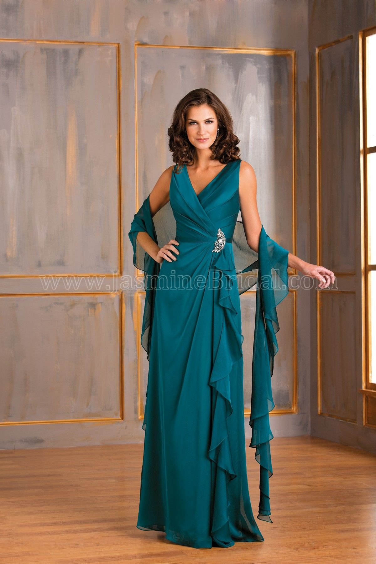 4921a70385 Jasmine Bridal Mother of the Bride Groom Dress Jade Style J175007 in Teal.  You will look ravishing in this simple