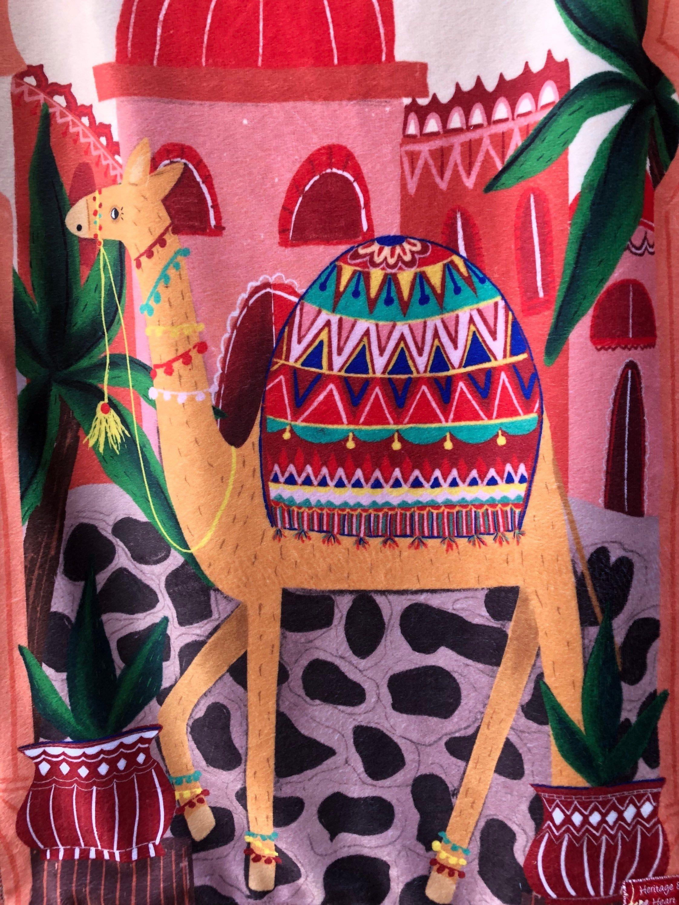 INDIA baby blanket, small - Rajasthan minky security blanket, woobie, lovey, lovie - keepsake, souvenir, decor - 17 by 26 inches