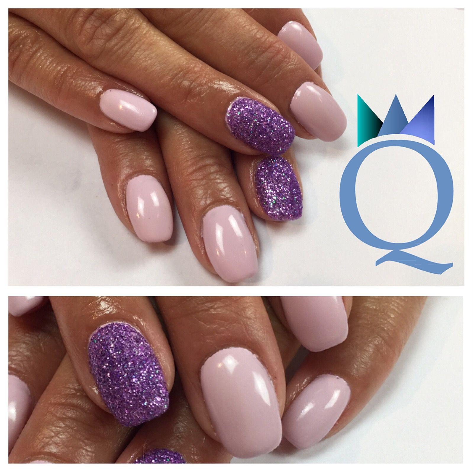 Shortnails Gelnails Nails Lilac Purple Glitter Kurzenagel