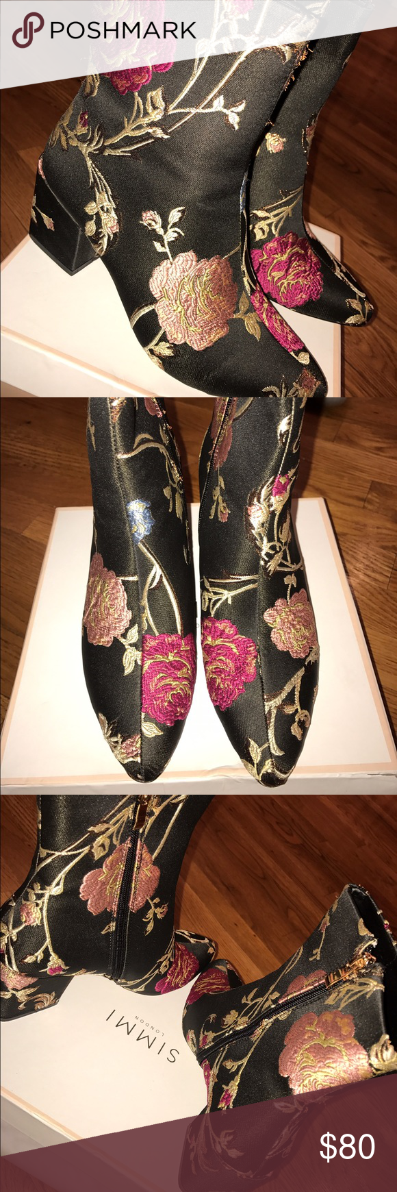 Floral booties Floral booties , never worn brand new with box , size 9! simmi Shoes Ankle Boots & Booties