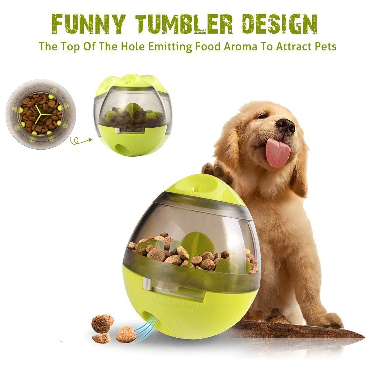 Dog Feeder Toy Food Dispenser Tumbler Interactive Funny Treat Ball