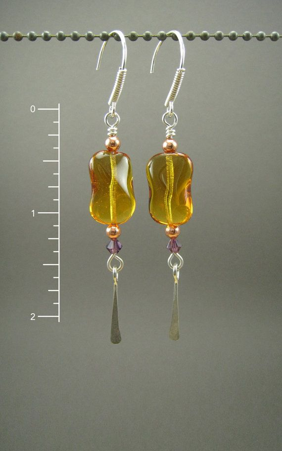 Sterling Copper Amber and Purple Earrings by something2magpie