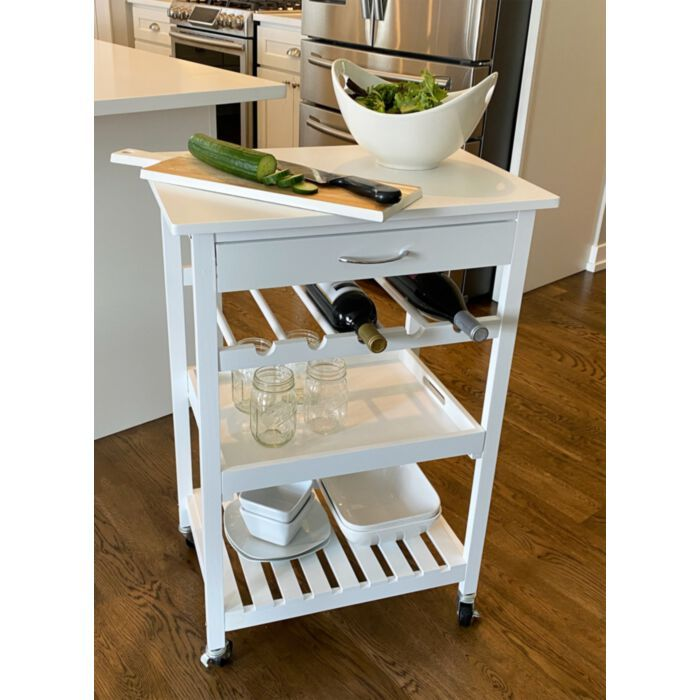 Bennington Rolling Wooden Counter Height Kitchen Storage Cart With Tray And Wine Rack White In 2020 Kitchen Storage Kitchen Storage Organization Wooden Counter