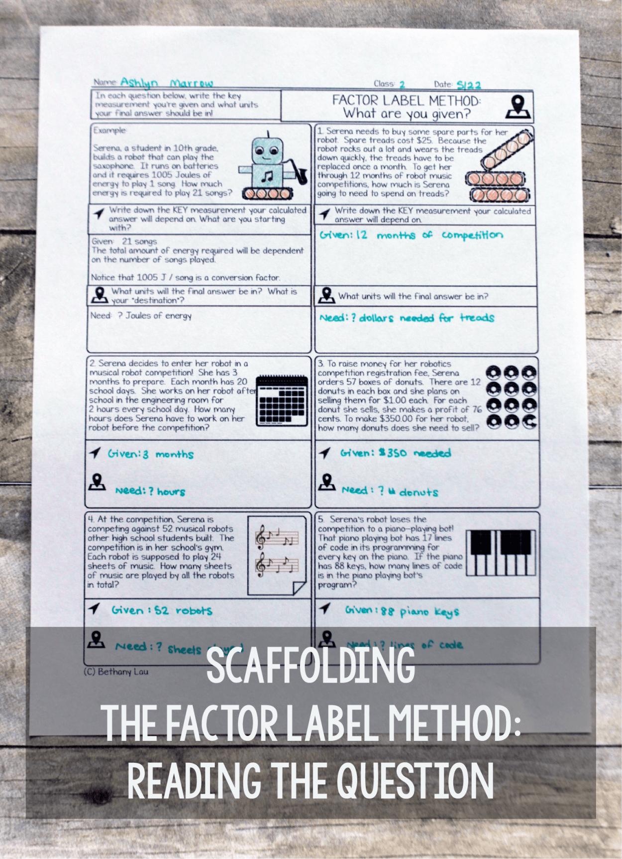 35 Dimensionalysis Worksheet Factor Label Method