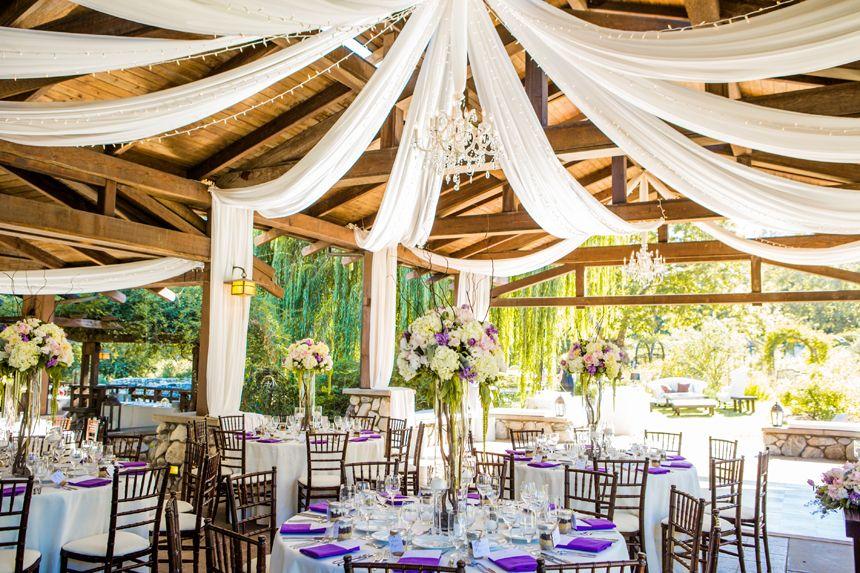 Purple White Reception Decor Photo Credit Beautiful Day Photography Garden Wedding Wedding Garden Wedding Venue