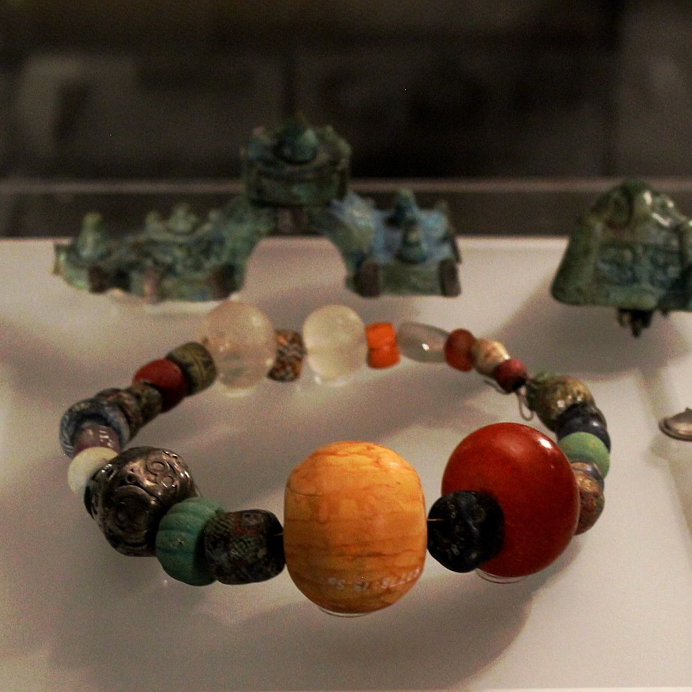 Viking Age beads at the historical museum in Stockholm, Sweden
