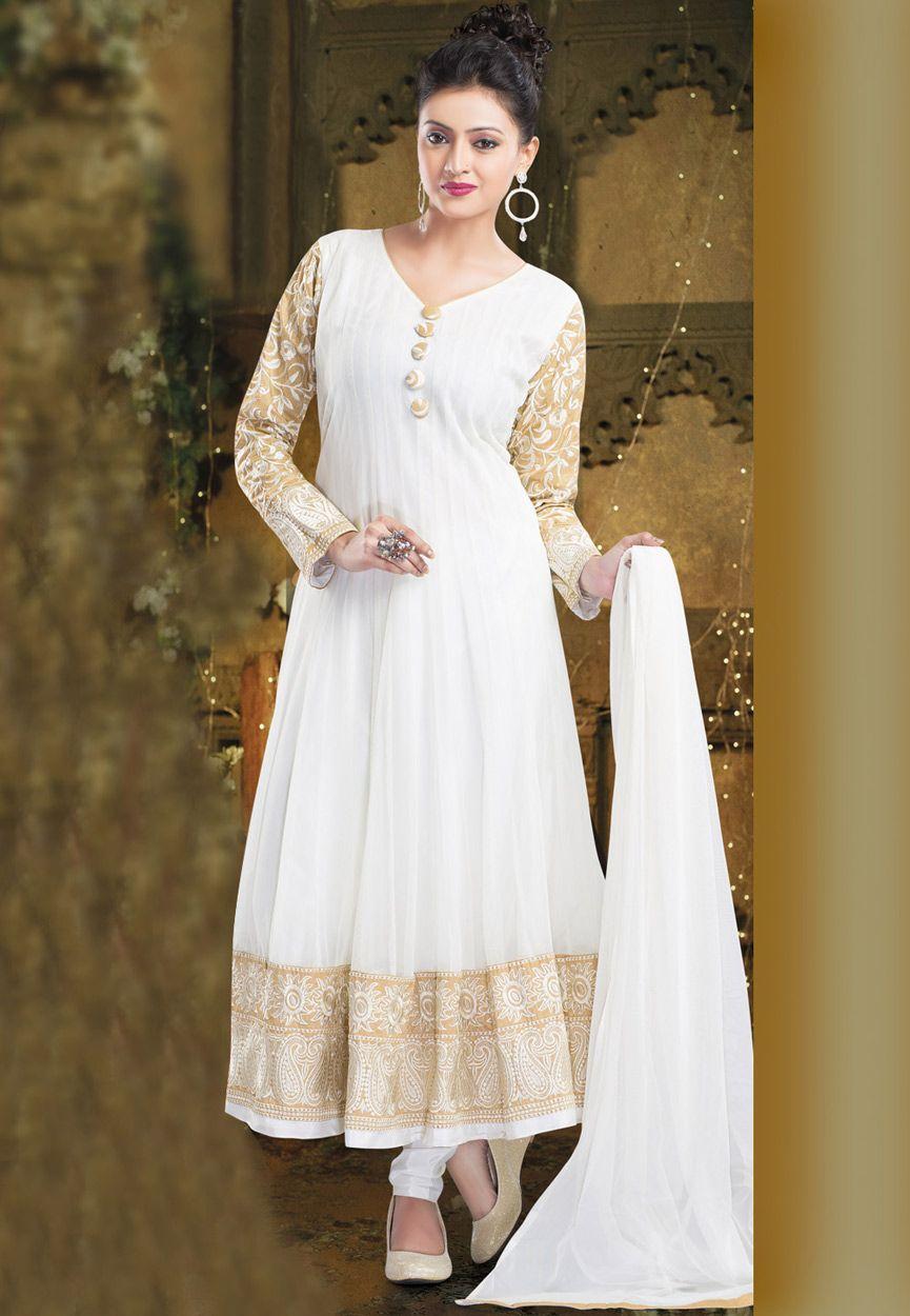 White Net Readymade Anarkali Churidar Kameez Online Shopping: KMK365