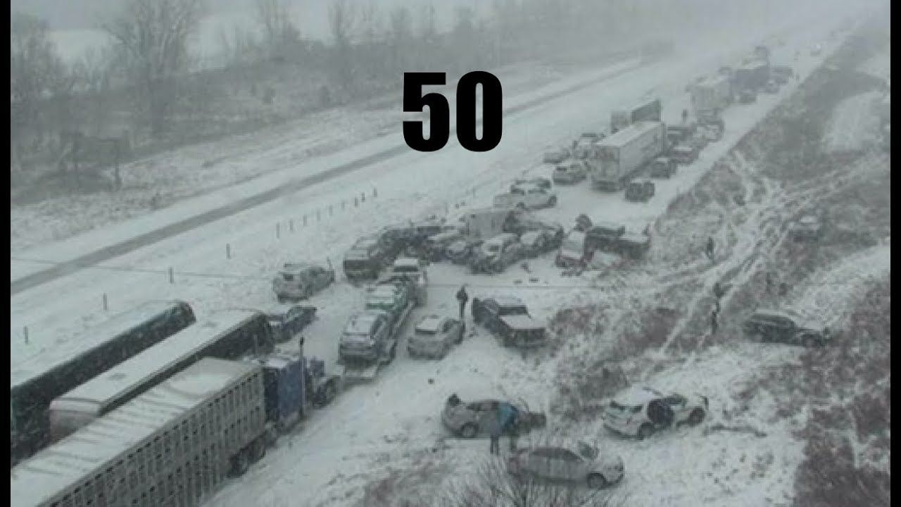 HUGE car pileup on Interstate 35 during weather event | Giant waves fore...