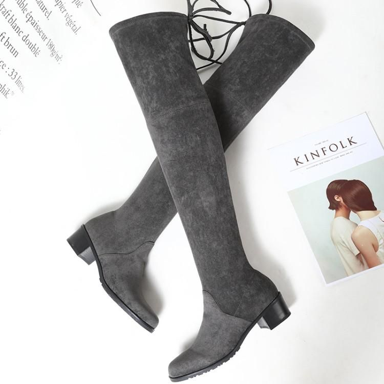 cafaffea284 Fashion Orange Black Grey Suede Sewing Upper Winter Boots Women Over The Knee  Round Toe Chunky