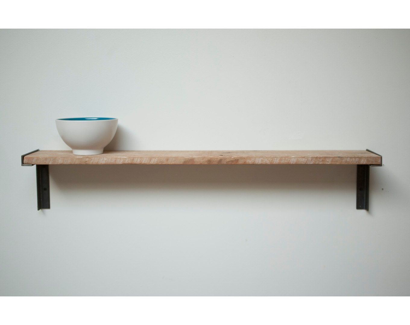 Reclaimed Wood And Metal Wall Shelves: Minimal Wall Mount Shelf. Reclaimed Old Growth Wood And