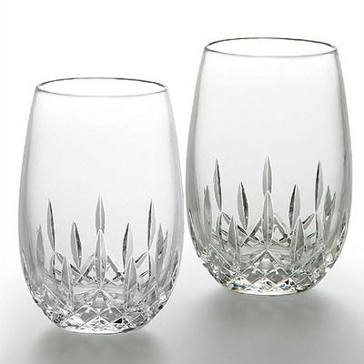 Waterford Crystal Lismore Nouveau White Stemless Wine Glass PAIR