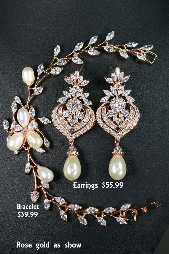 Crystal wedding earrings Wedding jewelryRose Gold by thefabbridal3