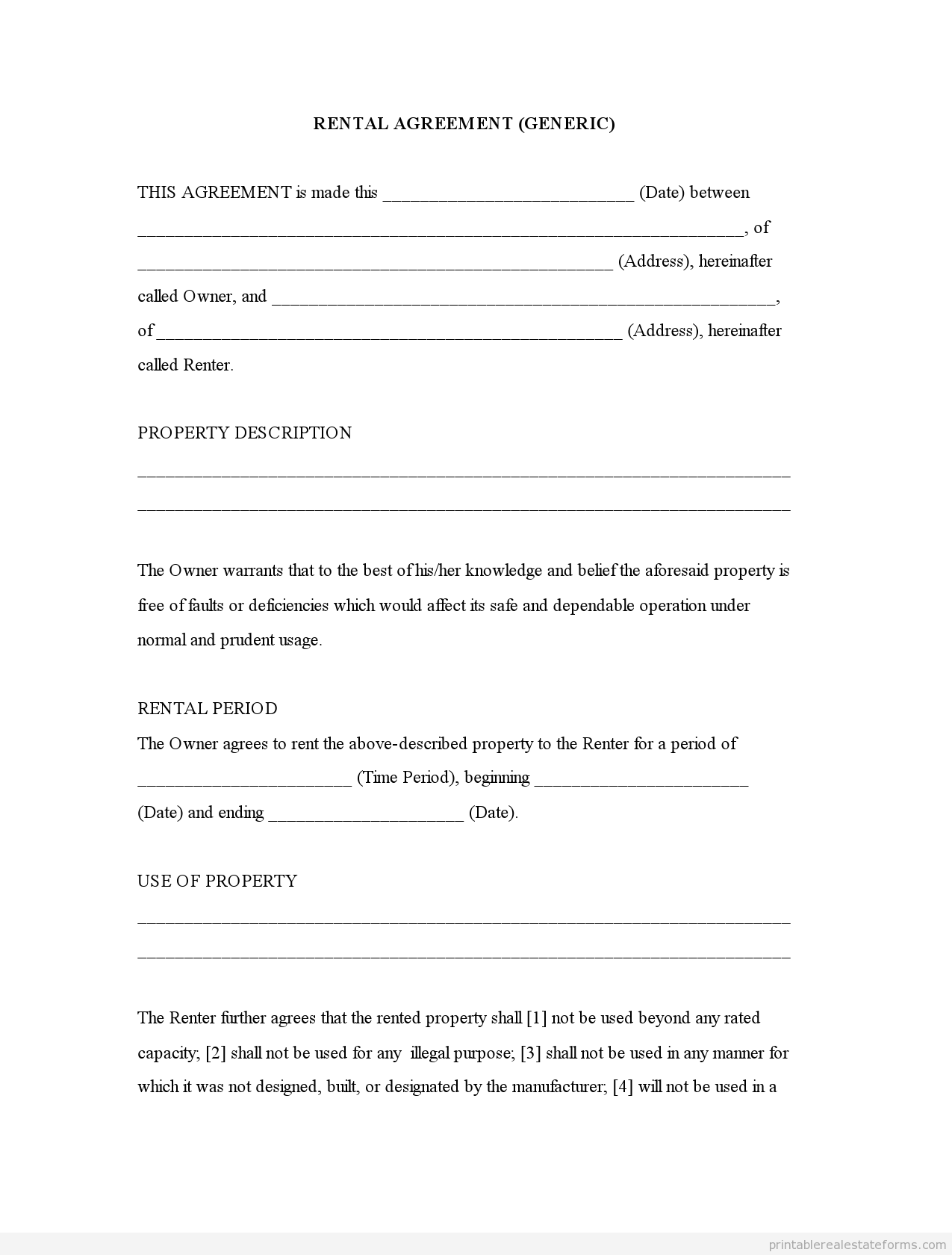 Free Printable Rental Agreement  Rental Agreement Generic