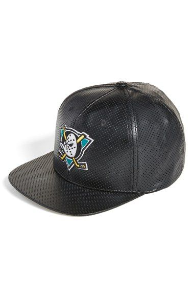 3ba137099d3 American Needle  Anaheim Mighty Ducks  Perforated Faux Leather Snapback Cap  Leather Snapback