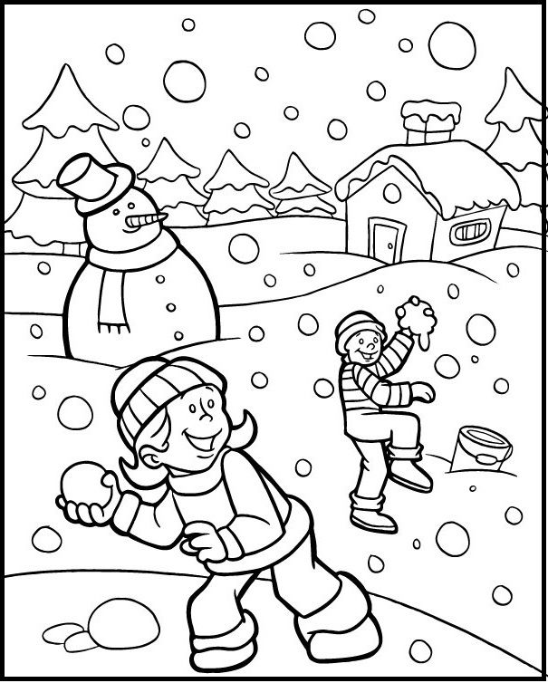 Kid Happy Snowball Fight On Winter Coloring Picture For Kids