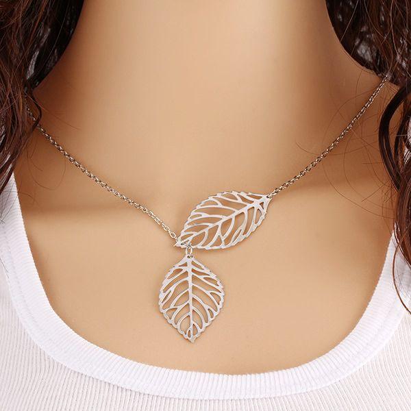 Fashion Leaf #Necklace, Hollow Design & More Colors.