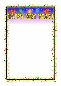 Happy New Year A4 Page Borders Sb3590 New Years Eve Menu Page Borders New Year Menu