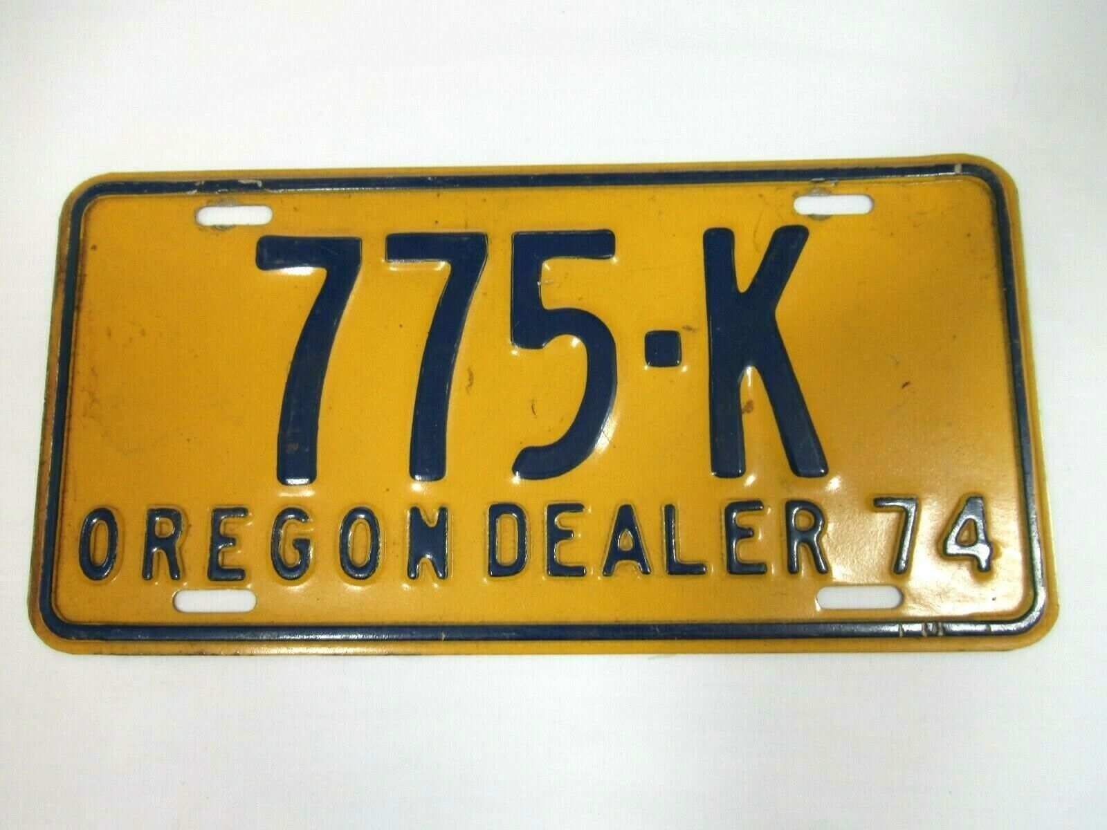 Vintage Oregon Dealer License Plate, 1974, 1970s, 775K