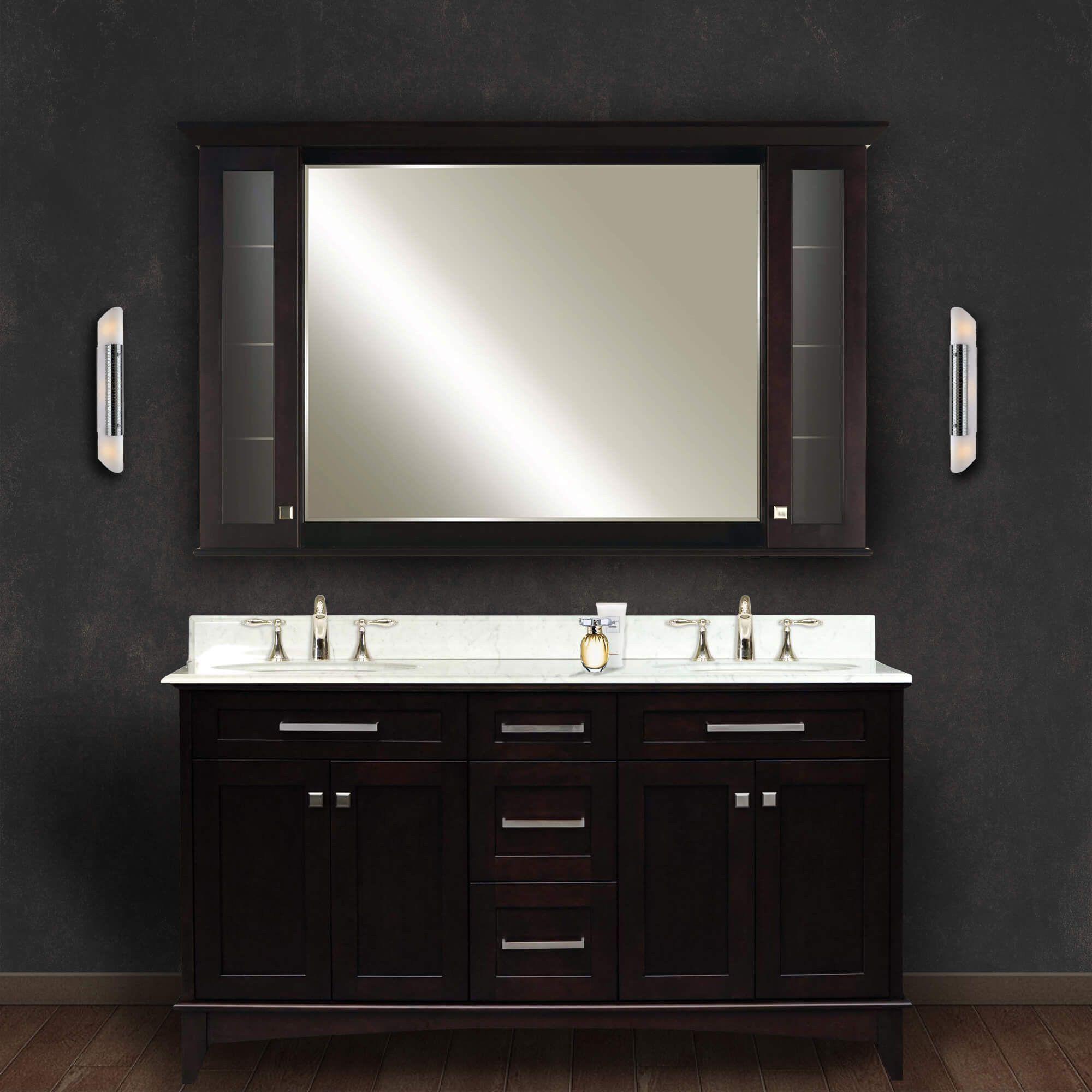 "Manhattan 60"" Dark Espresso Double Sink Bathroom Vanity And"