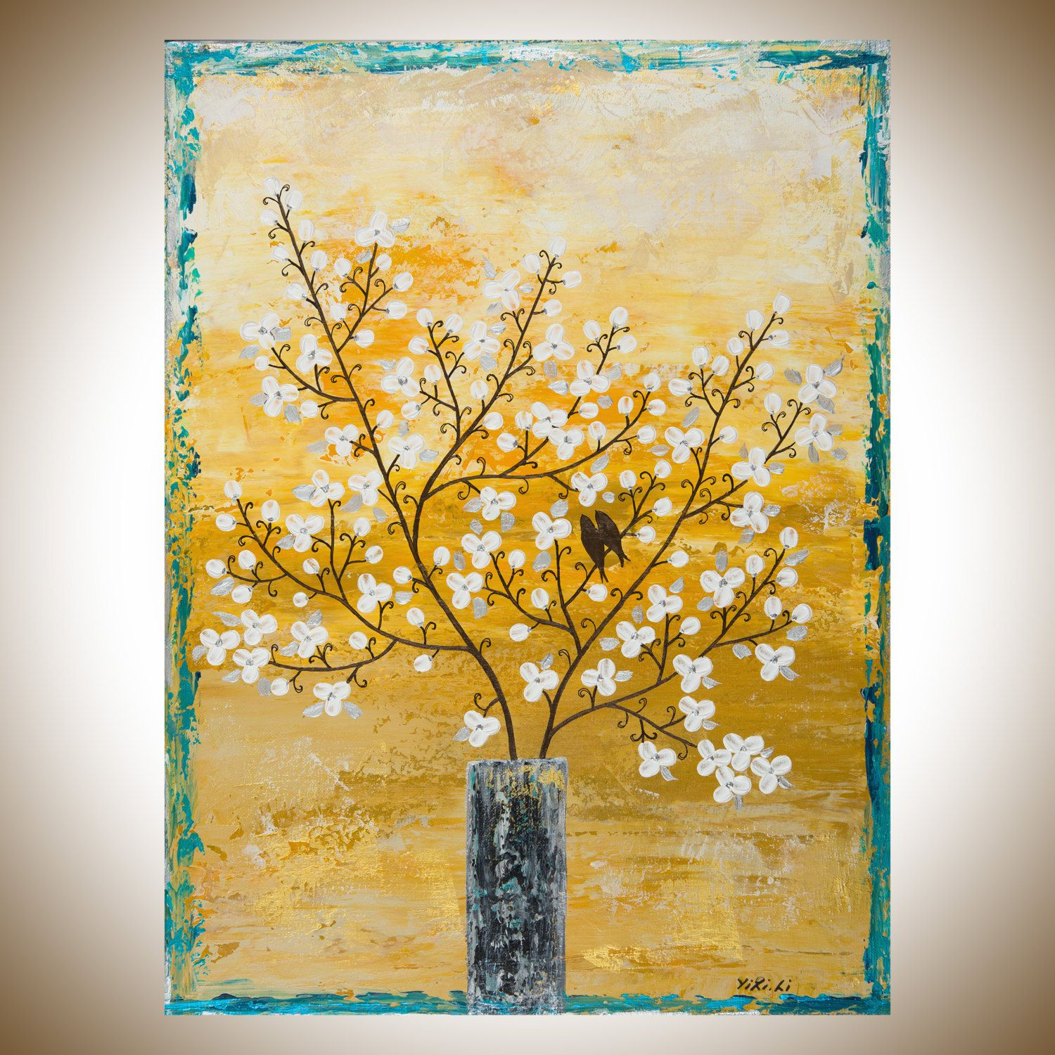 Acrylic painting tree branch birds art flowers in vase painting ...