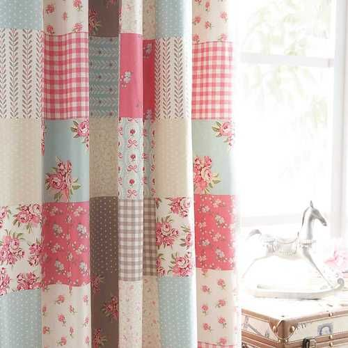 BALLERINA SHABBY PATCHWORK CHIC BLUE PINK COTTON 66 X 72 LINED CURTAINS