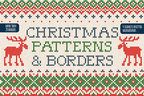 Set of christmas patterns & borders  @creativework247