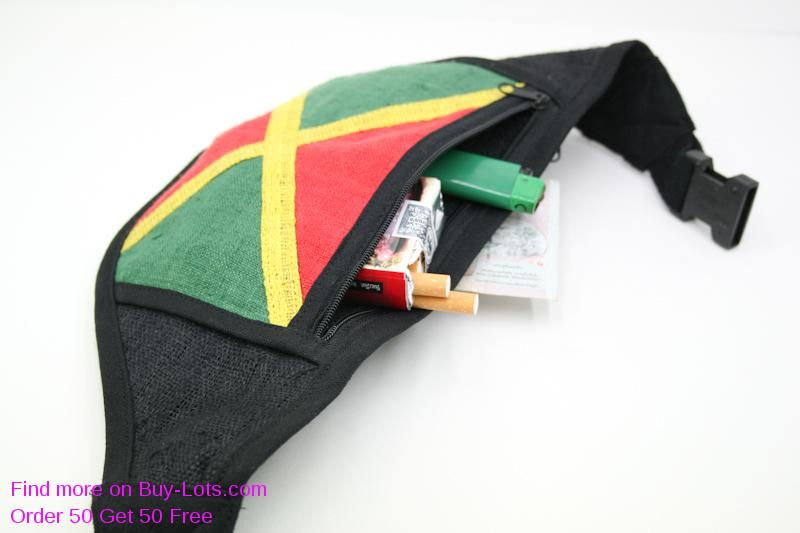 1c4f96e49c Wholesale Flat Waist Bags Jamaica Flag Black Clip Strap Thin Waist ...