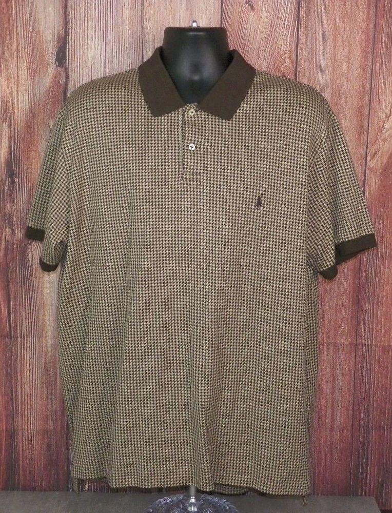 ad2d8cea593317 Polo Ralph Lauren Mens Short Sleeve Brown Beige Houndstooth Polo Shirt Size  XL  PoloRalphLauren  PoloRugby