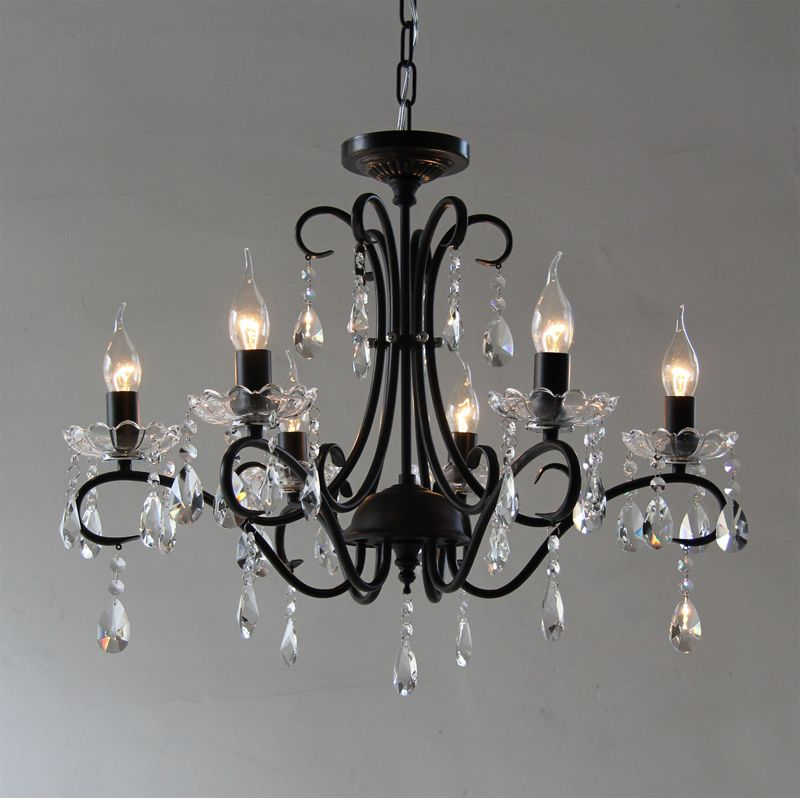 Black Iron Candle Chandelier European Fashion Vintage Castle Style Hanging For Home
