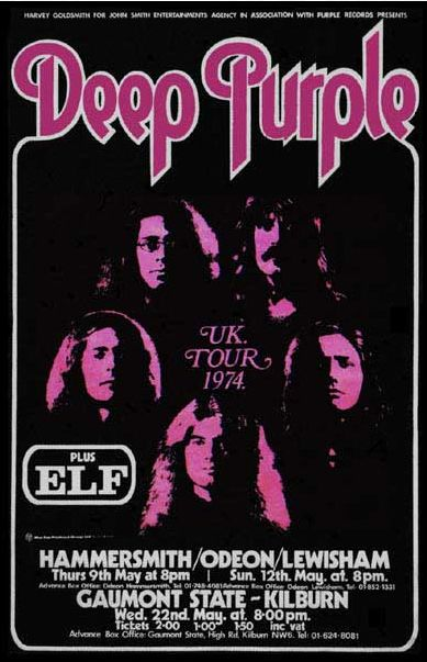 Deep Purple 1974 Uk Tour Poster Jpg 389 603 Rock Band Posters Music Concert Posters Vintage Music Posters