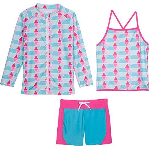 SwimZip Girl 3 Piece Long Sleeve Rash Guard /& Tankini Swim Set Multiple Colors