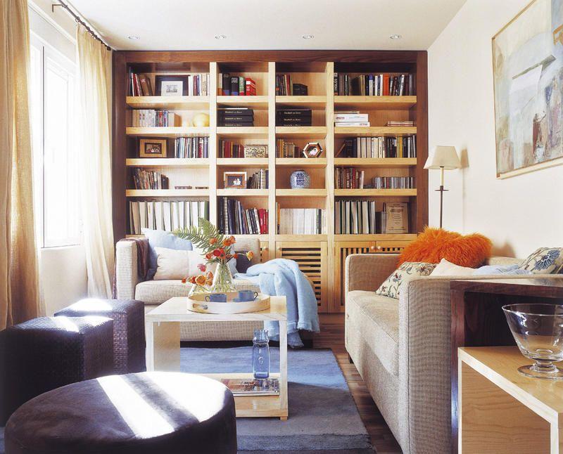 Salones con librería | Librerías, Salón y Estanterías empotradas
