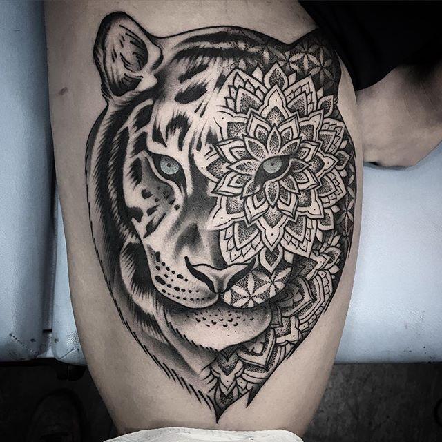Resultado de imagen de tigre mandala tatoos tatuaje de jaguar tatuaje de tigre y tatuajes - Tigre mandala ...