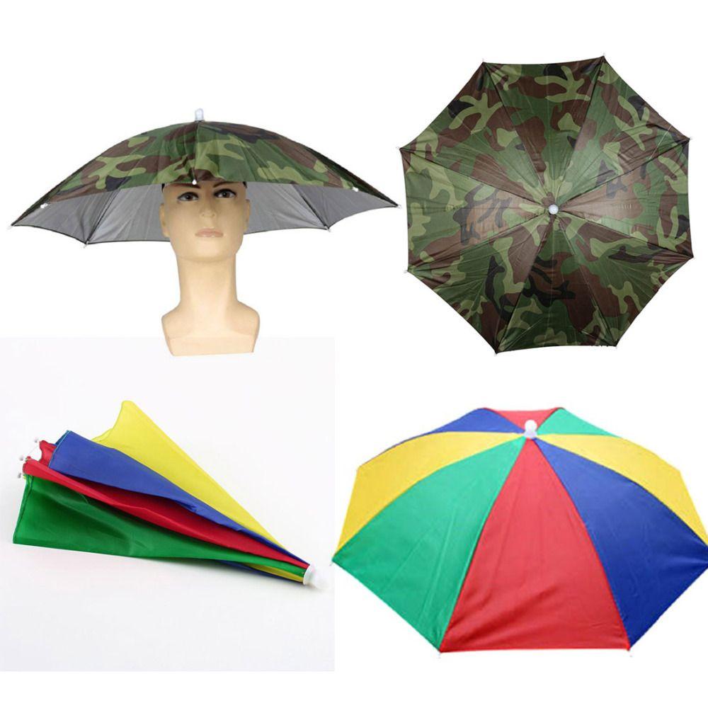 Click To Buy Hot 2 Colors Hands Free Portable Creative 55cm Usefull Umbrella Hat Sun Shade Camping Fishing Hik Fishing Umbrella Umbrella Best Rain Jacket