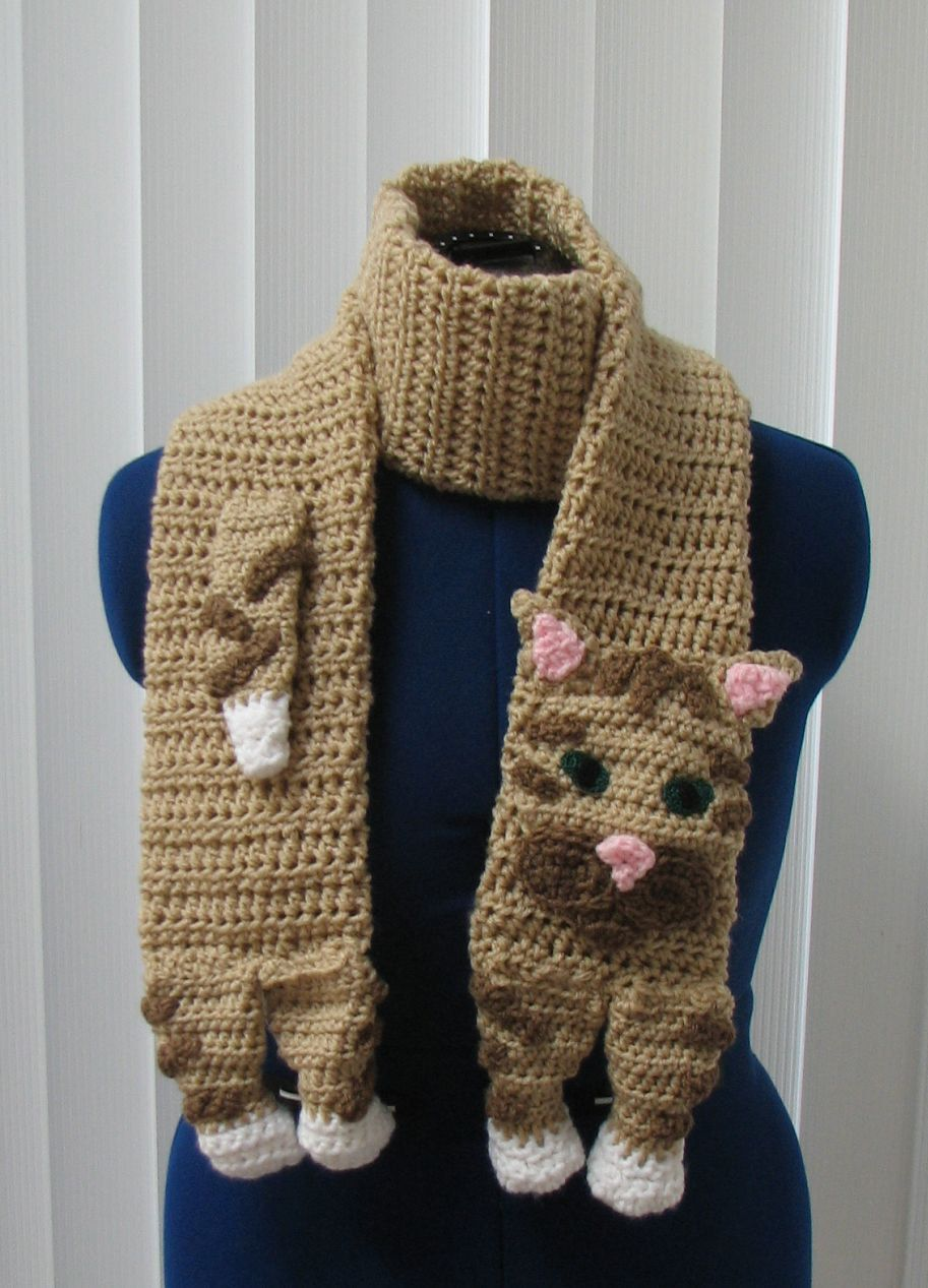 Crochet Buff (Tan) Tabby Cat Scarf with Brown Accents Made To Order ...