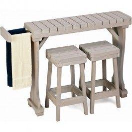 towel redwood hot tub table 31 height perfect freestanding spa rh pinterest com hot tub spa side table hot tub side table ideas