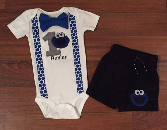 SALE Cookie Monster 1st Birthday Outfit Boy