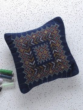 Blue-Yellow-Pink Hand-Embroidered Cotton Cushion Cover with Mirror Work