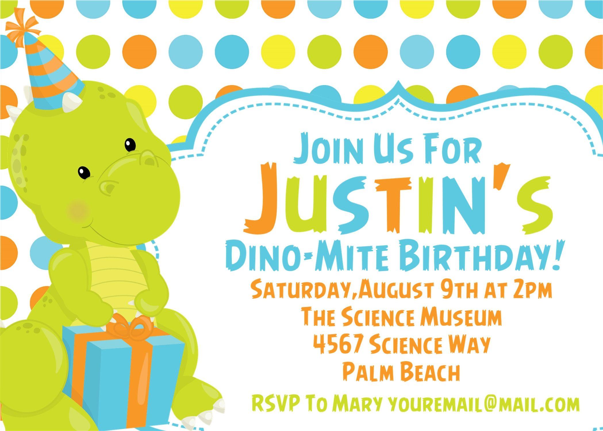 Baby Dinosaur Birthday Party Invitations