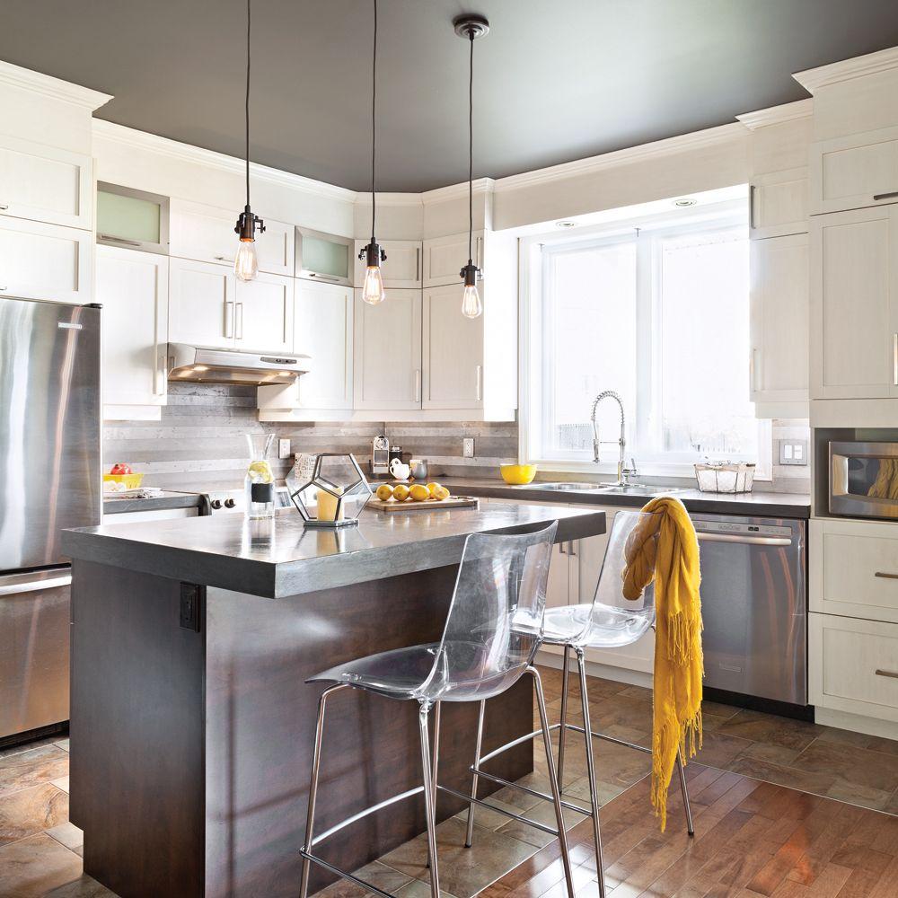 Recouvrir un comptoir de stratifi avec du b ton id es for Recouvrir armoire cuisine