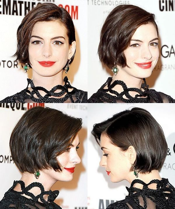 Anne Hathaway With A Chic Bob Short Hair Styles Short Sassy Hair Hair Styles